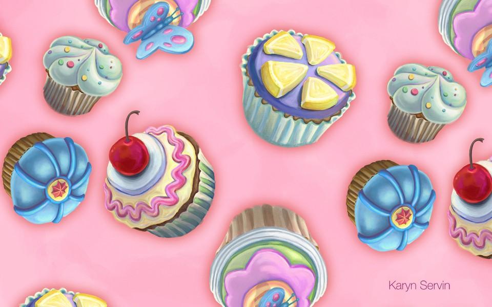 可爱壁纸 甜点糖果花纹背景宽屏壁纸下载