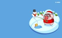 小猪滚滚圣诞壁纸