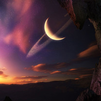 月球星空背景iPad壁纸