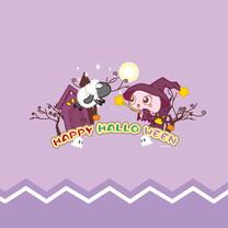 MOGOO蘑菇点点紫色万圣节iPad壁纸
