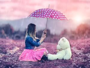 安卓唯美 美女 雨中手机壁纸