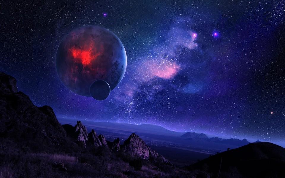 宇宙星空唯美蓝色壁纸