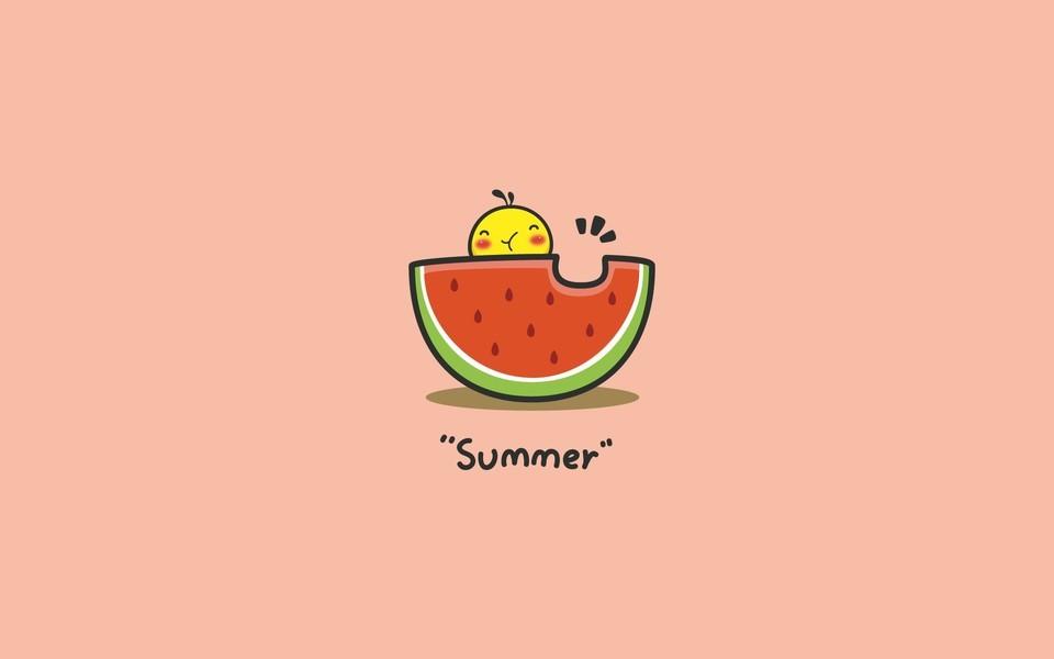 油爆叽丁summer简约插画ipad壁纸