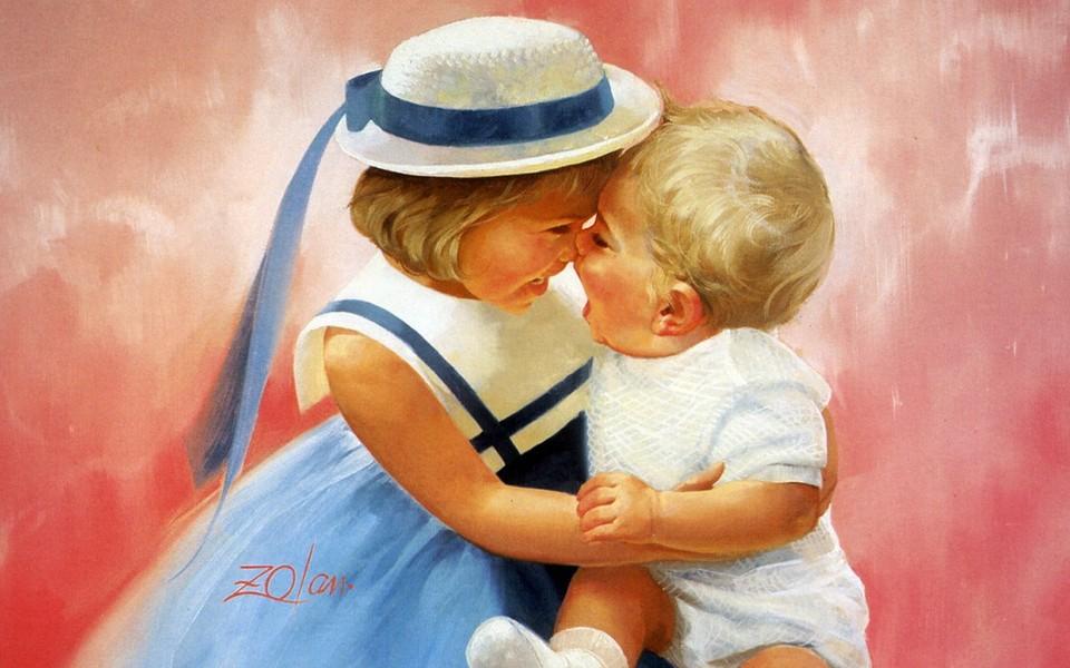 可爱宝宝壁纸 童年时光油画精选可爱壁纸下载