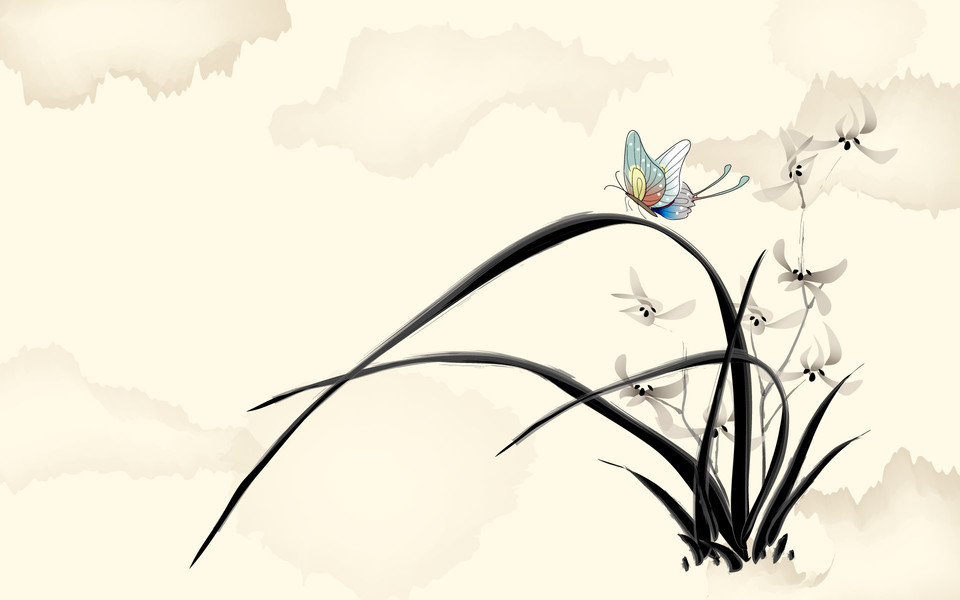 矢量植物花卉水墨画桌面壁纸