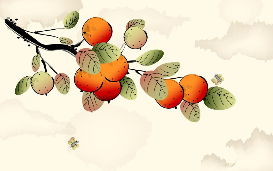 矢量植物花卉水墨画桌面壁纸下载