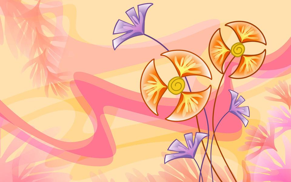 手绘鲜花精美桌面壁纸图片