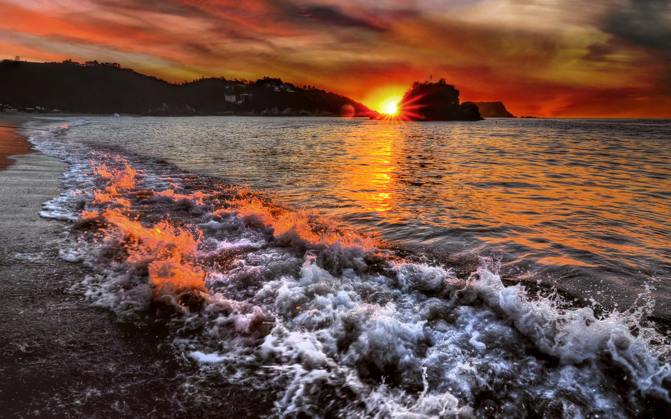 电脑壁纸 景色壁纸 夕阳海景高清桌面壁纸下载