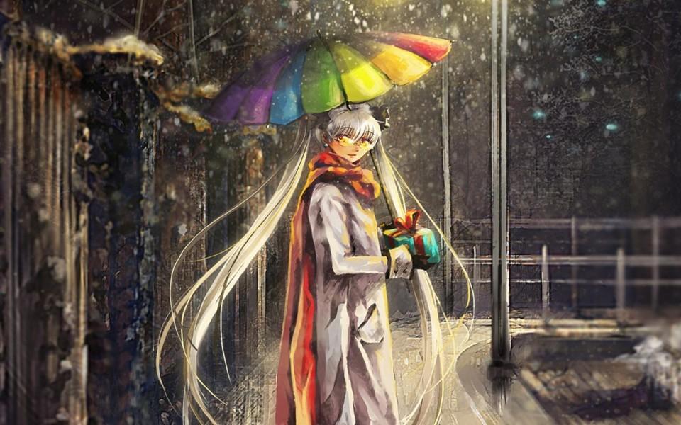 动漫雨伞少女电脑壁纸