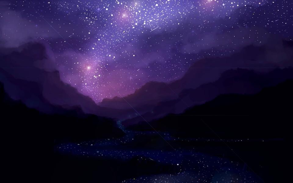 电脑壁纸 唯美意境壁纸 宇宙星空唯美蓝色壁纸下载