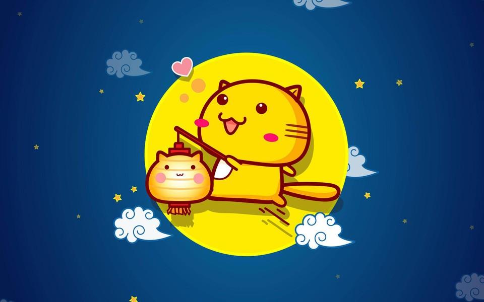 哈咪猫中秋节ipad壁纸图片