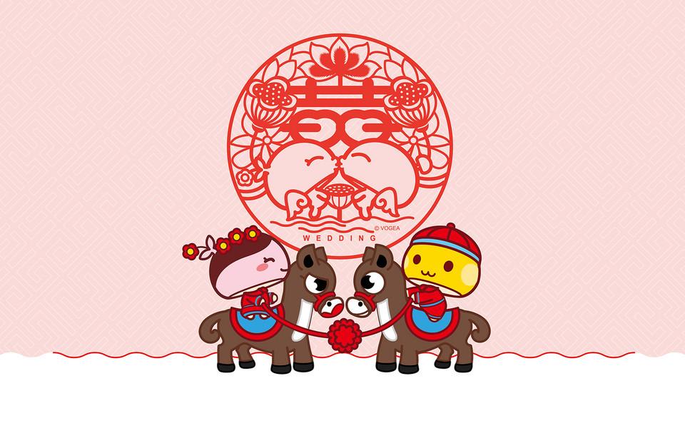 中式新郎新娘卡通头像