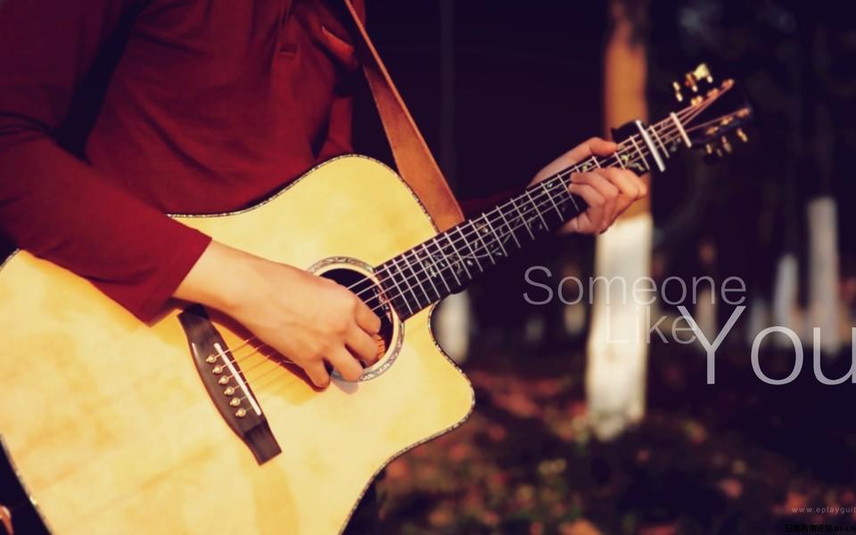 唯美清新吉他美女主题壁纸