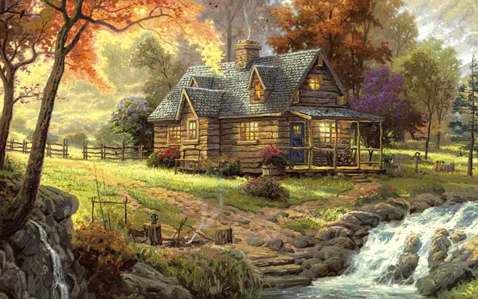 手绘森林小屋ipad壁纸
