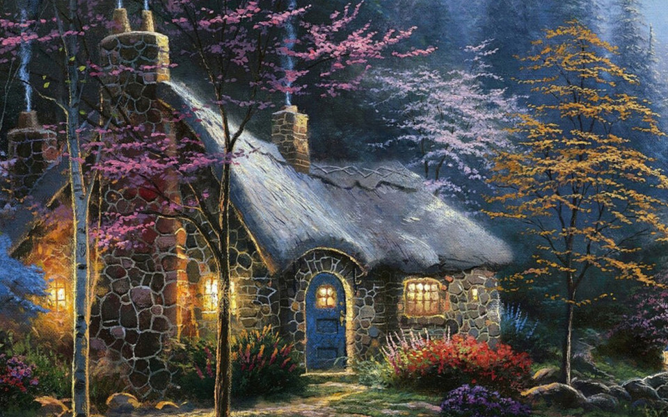 ipad壁纸 风景画壁纸 手绘森林小屋ipad壁纸下载