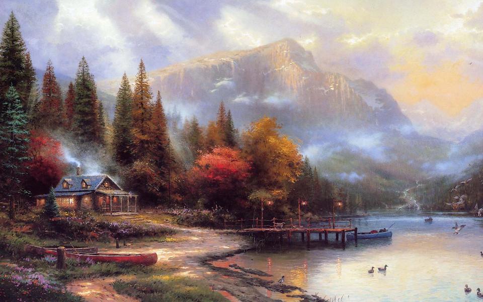 电脑壁纸 风景画壁纸 手绘森林小屋桌面壁纸下载